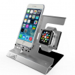 Apple Watch & iPhoneスタンド ステンレス&アルミ素材 シルバー2